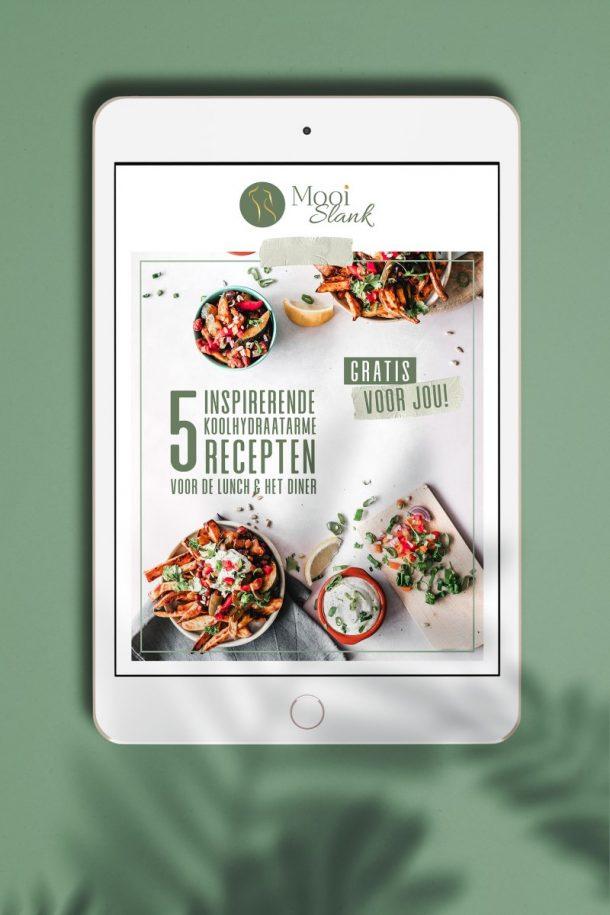 E-book met 5 koolhydraatarme recepten voor de lunch en het diner